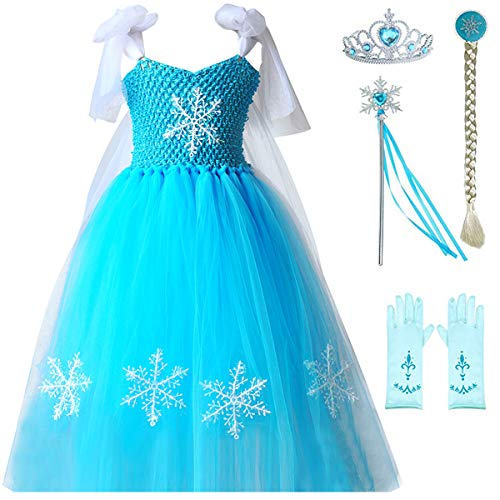 Elsa Anna Princess Dresses Girls Queen Frozen Tutu Cinderella Costumes Halloween Birthday Pageant Party with Tiara Wand Set]()
