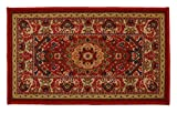 RugStylesOnline Medallion Traditional Persian Oriental Design Mat Red Color Printed Slip Skid Resistant Rubber Back (Red, 18''x30'' Mat')
