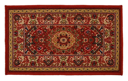 Medallion Door Mat - RugStylesOnline Medallion Traditional Persian Oriental Design Mat Red Color Printed Slip Skid Resistant Rubber Back (Red, 18