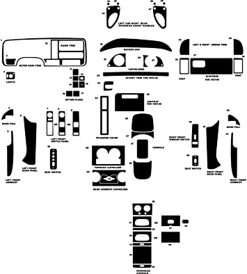 Silver Rvinyl Rdash Dash Kit Decal Trim for Chevrolet Pick Up 1995-1999 - Carbon Fiber 4D Full Size