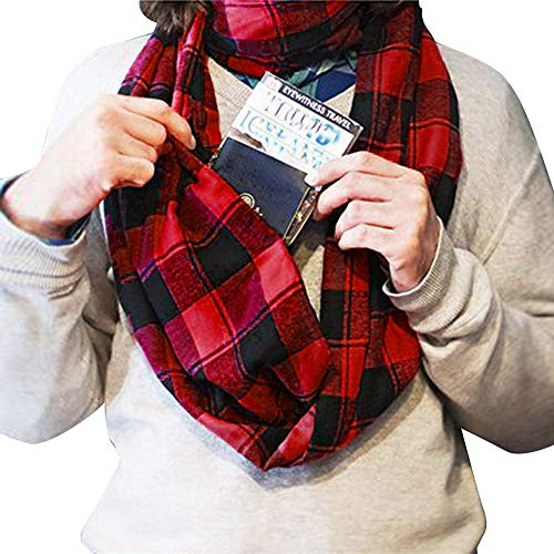 UONQD Women Man Plaid Print Convertible Infinity Scarf Loop Zipper Pocket Scarves(OneSize,Red)