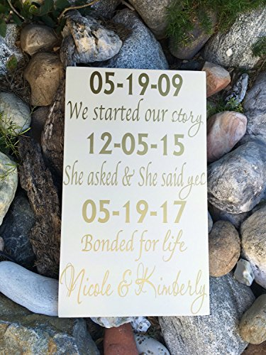 Ruskin352 LGBT Wedding Gift Important Dates Sign Our Love Story Sign First Day Best Day Yes Day Personalized Gift Special Dates Same Sex Marriage Gift by Ruskin352