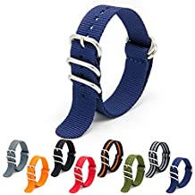 CIVO Heavy Duty G10 Zulu Military Watch Bands NATO Premium Ballistic Nylon Watch Strap 5 White Rings with Stainless Steel Buckle 20mm 22mm 24mm (navy blue, 20mm)