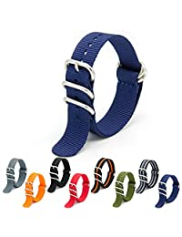 CIVO Heavy Duty G10 Zulu Military Watch Bands NATO Premium Ballistic Nylon Watch Strap 5 White Rings with Stainless Steel Buckle 20mm 22mm 24mm (navy blue, 24mm)