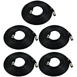 GLS Audio 25ft Mic Cable Patch Cords - XLR Male to XLR Female Black Microphone Cables - 25' Balanced Mike Snake Cord - 5 PACK