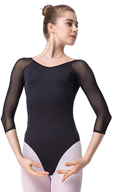 Adult Women Ballet 3//4 Sleeve Mesh Lace Sheer Dance Leotard Gymnastics Bodysuit