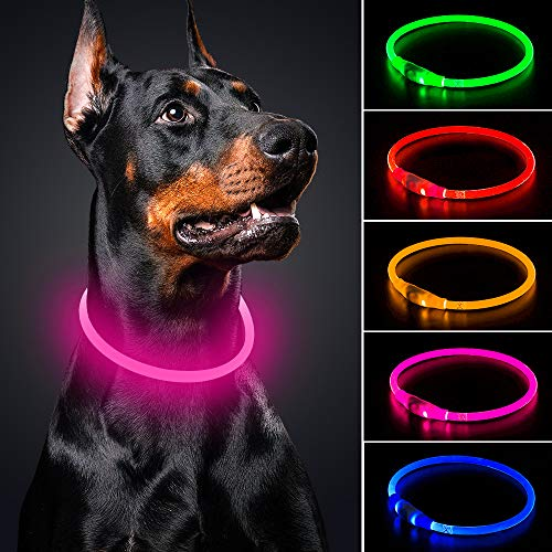 BSEEN LED Dog Collar - Cuttable Water Resistant Glowing Dog Collar Light Up, USB Rechargeable Pet Necklace Loop for Small, Medium, Large Dogs (Candy Pink)
