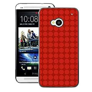 A-type Arte & diseño plástico duro Fundas Cover Cubre Hard Case Cover para HTC One M7 (Dot Red Grid Pattern Deep Dark)
