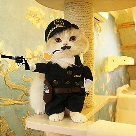 Disfraz de gato de la policía de Nikgic para mascotas y perros, traje de ropa para gatos, disfraz para mascotas: Amazon.es: Productos para mascotas