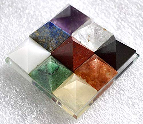 - 9 Pyramid Plate Chakra Power Protection Vastu Healing Feng Shui Energy Size Approx. 2