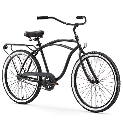 "sixthreezero Around The Block Men's Single Speed Beach Cruiser Bicycle, 24"" Wheels, Matte Black, 15""/One Size"