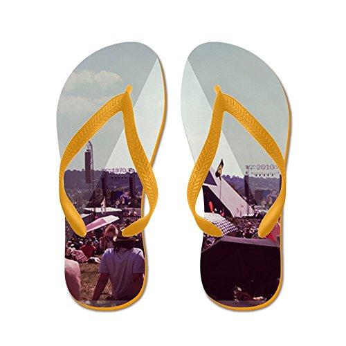 CafePress Glastonbury - Pyramid Stage - Flip Flops, Funny Thong Sandals, Beach Sandals Orange