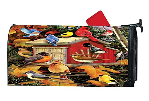 - Spring Magnetic Mailbox Cover Mailwrap, All Weather Vinyl Mailbox Makeover Cover, Standard Size, Full Magnet on Backside - Fall Birds & Birdhouse