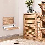 Giantex 18' Folding Shower Bench Seat Folding Shower Seat Teak Wood and Aluminum Modern Wall-Mounted Fold Up Bathroom Stool Foldaway Shower Seating Chair