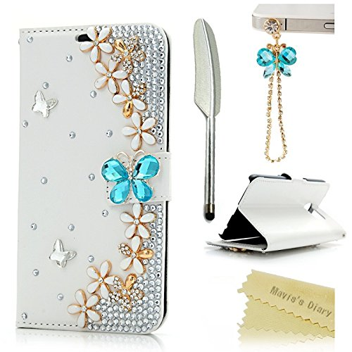 Galaxy S6 Case – Mavis's Diary 3D Handmade Bling Crystal Golden Flowers PU Leather Wallet with Lovely Sparkle Blue Diamond Butterfly Magnetic Clasp Fl…