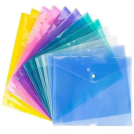 Sumaju portadocumenti A4, con chiusura a bottone colore trasparente assortiti Business Office file organizer, confezione da 12 Multi
