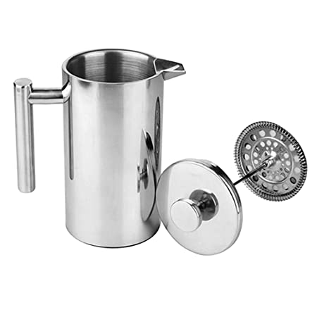French Coffee Press Maker, Stainless Steel French Press Machine for Coffee Tea Camping Office, SIlver – 500ml