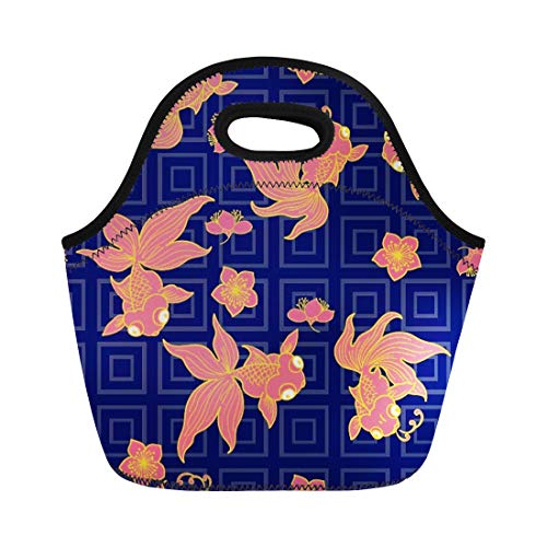 Semtomn Lunch Tote Bag Goldfish Are Popular Symbols in Chinese As Their Name Reusable Neoprene Insulated Thermal Outdoor Picnic Lunchbox for Men Women