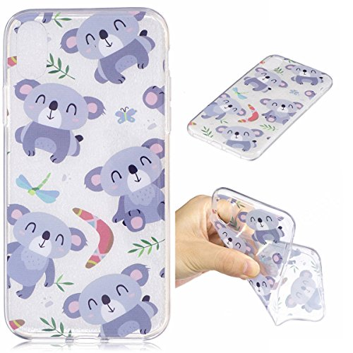 Erdong® Funda de Silicona TPU para Apple iPhone 8, Carcasa Transparente Soft Clear Case Cover Funda Blanda Flexible Carcasa Delgado Ligero Caja Anti Rasguños Anti Choque con Diseño Creativo para Apple Koala