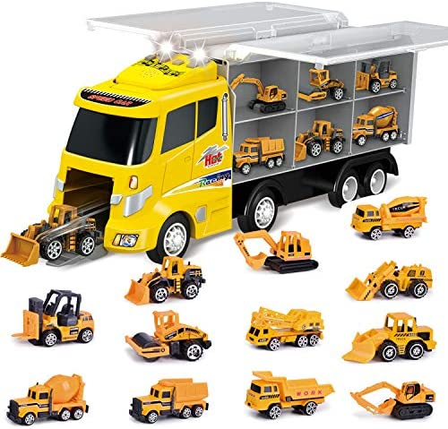 12 in 1 Die-cast Construction Truck, Toy Car Play Vehicles in Carrier Truck, Present for Kids