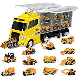 Best Epic Trends 51Em7Stkx6L._SS300_ 12 in 1 Die-cast Construction Truck, Toy Car Play Vehicles in Carrier Truck, Present for Kids