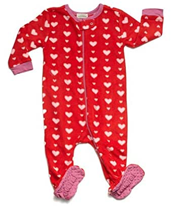 "Leveret Footed Fleece ""Hearts"" Pajama (5 Toddler)"