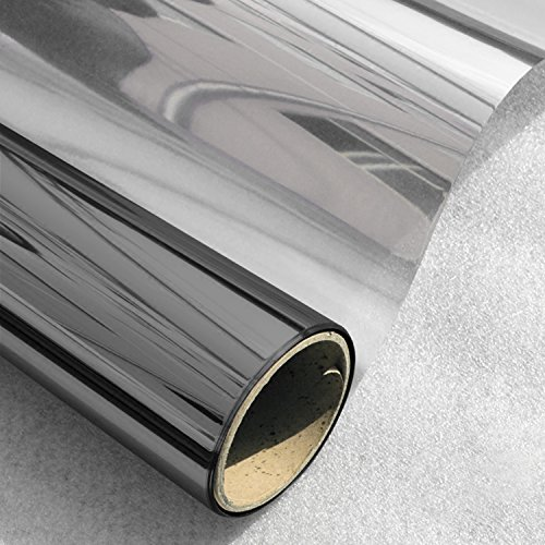 One Way Film Window Tint Glass Screen Home Interiors Privacy Screen Decorative Heat Control Residential Window Film, Black-Silver(23.6