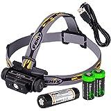 Fenix HL60R 950 Lumen USB rechargeable CREE XM-L2 T6 LED Headlamp, Fenix 18650 rechargeable Li-ion battery with 2 X EdisonBright CR123A back-up batteries bundle