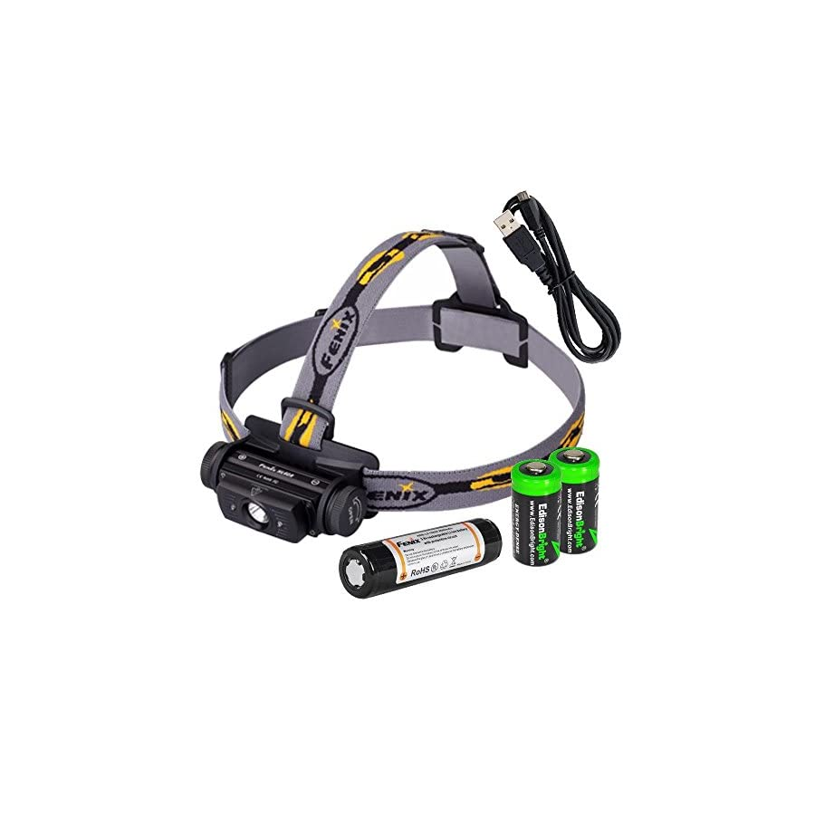 EdisonBright Bundle Fenix HL60R 950 Lumen USB rechargeable CREE XM L2 T6 LED Headlamp, Fenix 18650 rechargeable Li ion battery with 2 X CR123A back up batteries