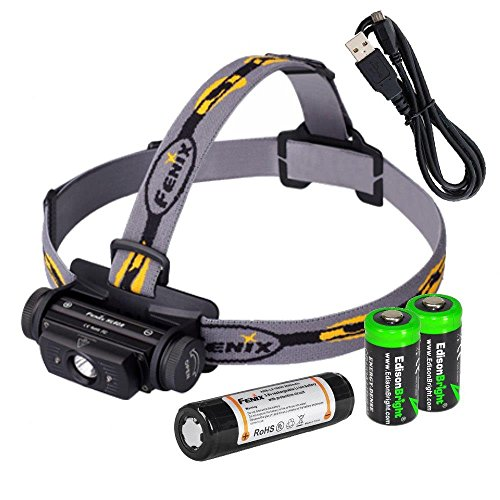 EdisonBright Bundle Fenix HL60R 950 Lumen USB rechargeable CREE XM-L2 T6 LED Headlamp, Fenix 18650 rechargeable Li-ion battery with 2 X CR123A back-up batteries