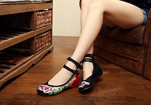 Tendón De Lino Bordados Cómodo Cinturón Femeninos Black Zapatos Estilo Doble Moda Zll Étnico Lenguado nxqIXaEw1