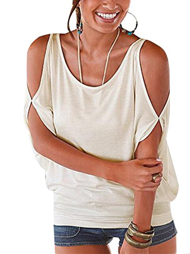 YOINS Women Summer T Shirt Cold Shoulder Short Sleeves Round Neck Loose Fit Tie up Back Tee Pullover Casual Top Multi Color White M