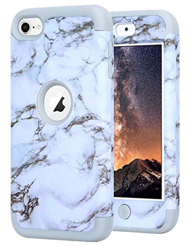 iPod Touch 5 Case,iPod Touch 6 Case, KAMII White Marble Stone Pattern Shockproof 3in1 TPU Bumper Hard PC Hybrid Defender Armor Case Cover for Apple iPod touch 5 6th Generation (White) - Hybrid Round Table