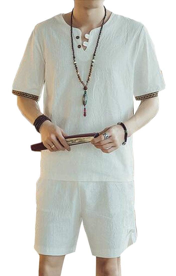 Fensajomon Mens Loose Fit T-Shirt Beach Shorts Cotton Linen Summer 2 Pieces Outfits Tracksuits