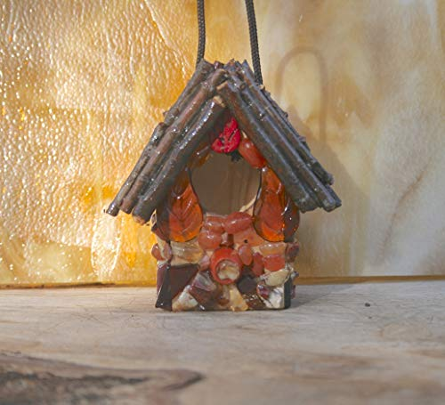 Small Stone Birdhouse Twig Roof Red Agates & Brown Jasper Stones