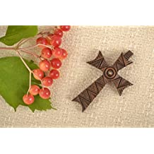 Mens Cross Pendant Handmade Wooden Jewelry Cross Necklace Gifts For Guys