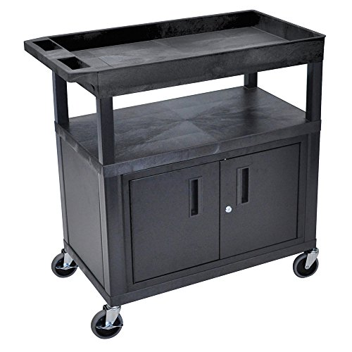 Luxor Home Office 32''x 18'' Utility Cart - Two Flat/One Tub Shelves with Cabinet by Luxor