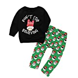 Lucoo Toddler Baby Boys Girls Christmas Long Sleeve Letter Print Tops Pants Outfit Set (Black, 3T)
