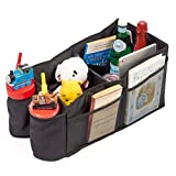 Car Back Seat Organizer iKross Car Console Storage Bins Basket with 2 Cup Holders for Adults Baby Toddler Kids, Back Seat Box Container for Minivan, Vans, Cars, SUV – Black