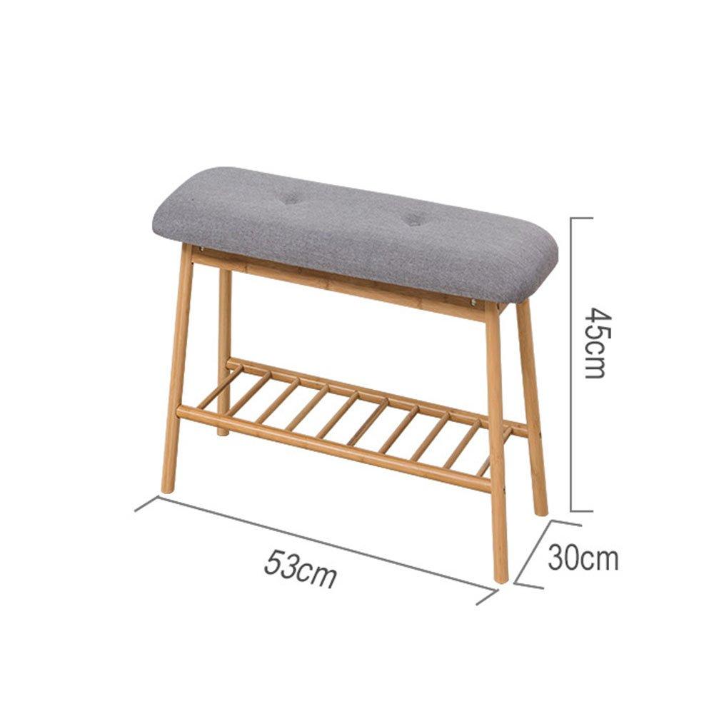 YNN 竹の靴ラックストレージベンチシートクッション、廊下のベッドルーム布張りのベンチ (色 : 原色, サイズ さいず : 53センチメートル) B07F13JL6Z 53センチメートル|原色 原色 53センチメートル