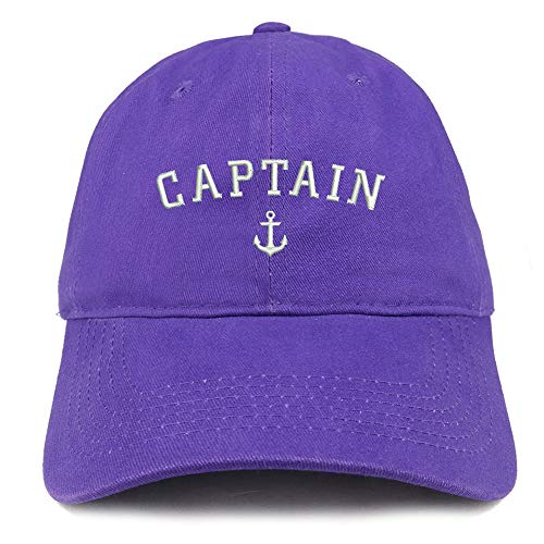 Trendy Apparel Shop Captain Anchor Embroidered Soft Crown 100% Brushed Cotton Cap - Purple