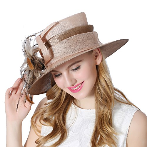 Koola's hats Champagne Brown 3 Layers Sinamay Kentucky Derby Hat Sun Hats Church Hats Summer Hats (Coffee Brown)