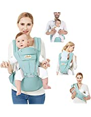 Viedouce Baby Carrier Ergonomic with Hip Seat/Pure Cotton Lightweight and Breathable/Multiposition:Dorsal, Ventral, Adjustable for Newborn and Toddler from 0 to 4 Years (3.5 to 20 kg)