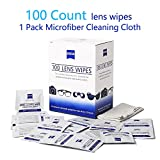 Lens Wipes Glasses Cleaner Wipes Remove Smudges No More Scratches Streaks Residue Pre-Moistened Cleaning Wipes (100 Count) and Microfiber Cleaning Cloths 1Pack