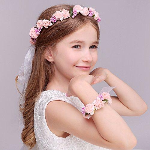 Diadema de boda rústica para niña, diseño de flores, color rosa y blanco.