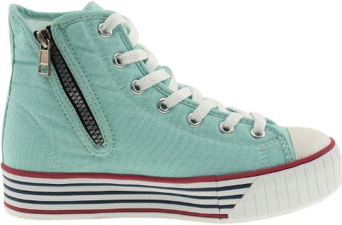 Maxstar C30 7-Holes High-Top Zipper Low Platform Canvas Sneakers Shoes Mint S5Jka