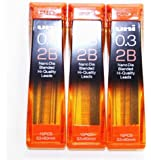 Strength & Deep & Smooth -Uni-ball Extra Fine Diamond Infused Pencil Leads, 0.3 Mm-2b-nano Dia 15 Leads X 3 Pack/total 45 Leads