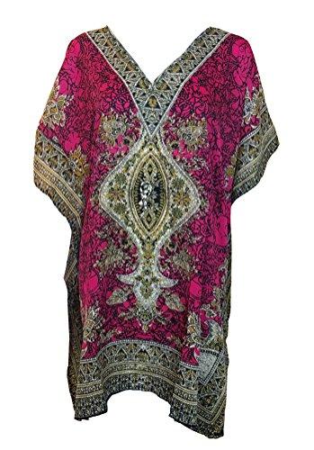 Pink Caftan - My Take Womens Printed Caftan One Size Fucshia