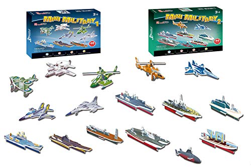 3D Puzzle Studio - Mini Military Army Puzzles for Kids includes Airplanes Fighter Jets Boats Ships Helicopters Aircraft Carriers (92 Pieces)