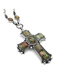 TEMEGO Jewelry Mens Alloy Vintage Gothic Celtic Cross Pendant Necklace Chain Necklace, Green Silver